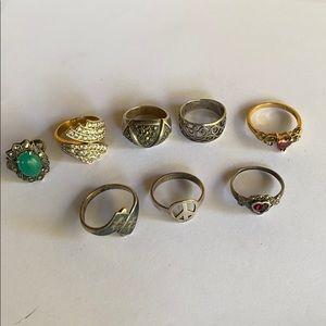 Vintage sterling ring lot of 8